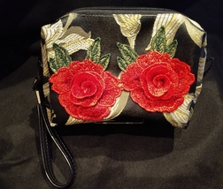 Clutch Bag/Wristlet/Makeup Bag - Red Rose Applique on Black & Gold Brocade