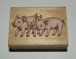 Pigs Piglets Rubber Stamp Stampede Baby Piggies Wood Mounted Retired Des... - $7.91