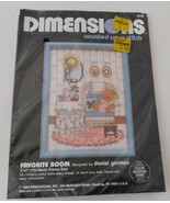 DIMENSIONS Counted Cross Stitch Kit~Favorite Room Teddy Bear 5 x 7, 1989 - $11.60