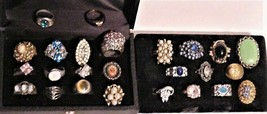 lot of 25 Gorgeous Colors Vintage Unsigned Fashion Rings Jewels Rhinestones - $275.00