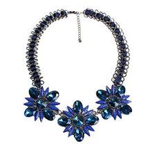 Y&M Statement Necklace Vintage Collar Chain Multicolor Gemstone (Blue) - $25.41