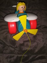 fisher price vintage 1980 pull along string airplane toy #2017 - $11.29