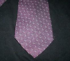 Mens Giorgio Armani Cravatte Made In Italy Purple Red Half Moon Shape Print Tie - $26.65