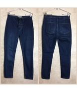Free People Size 30 Jeans Lace Up Waist Dark Blue Denim Skinny Womens - $53.90