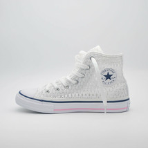 SHOES CONVERSE KID ALL STAR HI TINY CROCHET OP.WHITE/WHITE/C.PI 652725C ... - $46.02