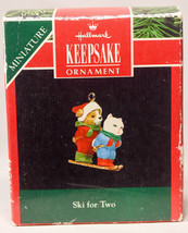 Hallmark Ski For Two  Miniature  Dog and Cat  1992 Holiday Ornament - $9.67