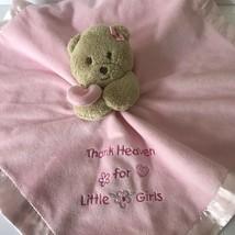 Okie Dokie Pink Teddy Bear Security Blanket Thank Heaven for Little Girl... - $16.44