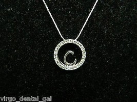"VTG KR Signed Silver Tone CZ Cubic Zirconia ""C"" Choker Necklace - $19.80"