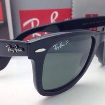 New Ray-Ban Polarized Sunglasses RB 2140 901/58 54-18 WAYFARER Black Frame/Green image 7