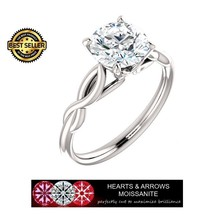 1.50 Carat (7.5mm) Round Moissanite Solitaire Ring (Hearts & Arrows) - $399.00