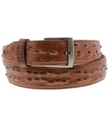 Mens Cognac Real Leather Lizard Iguana Print Cowboy Belt Casual Buckle C... - $29.99