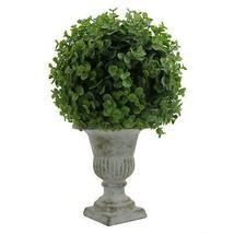 "Desktop Artificial Topiary Eucalyptus Ball Green 13"" Green Ceramic Pot P... - $37.12"