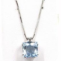 Halskette aus Weißgold 750 18k, Aquamarin Princess, Diamanten, Kette Ven... - $499.98