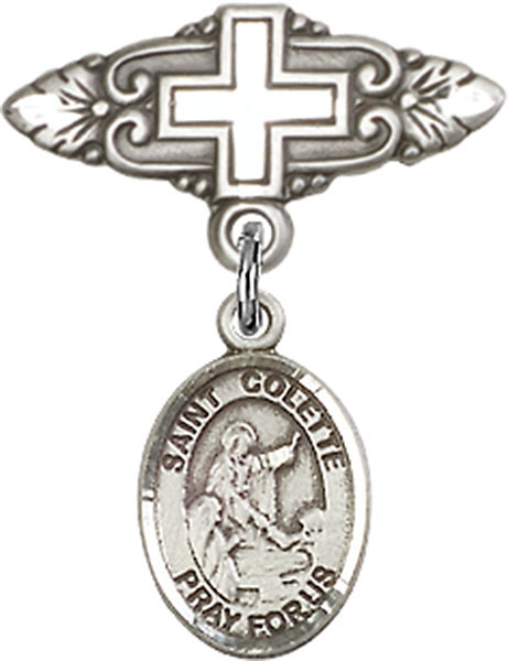 Primary image for Sterling Silver Baby Badge with St. Colette Charm Pin with Cross 1 X 3/4 inch