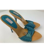 JLo Slip On High Heels Jeweled Wood Blue Shoes Women's Size 10 M - $24.74
