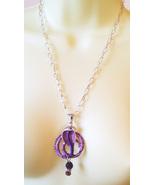 CRYSTAL SNAKE NECKLACE purple cobra pendant silver chain handmade animal... - $6.99