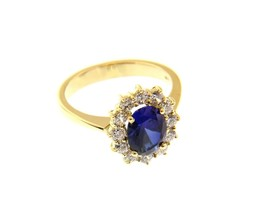 18K YELLOW GOLD FLOWER RING BIG OVAL 9x7mm BLUE CRYSTAL CUBIC ZIRCONIA FRAME image 1