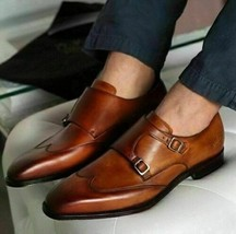 Handmade Men's Brown Leather Wing Tip Double Monk Strap Dress/Formal Shoes image 3