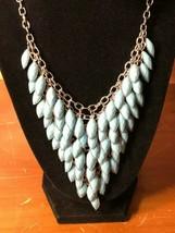 Vtg Silver Tone Metal BLUE Chandelier Bib Leaves Leaf Princess Necklace ... - $19.34