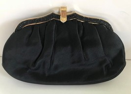 Vintage Judith Leiber Black Satin Clutch Evening Bag w/coin purse, comb,... - $180.00