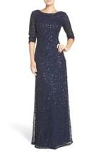 ADRIANNA PAPELL Sequin Mesh Gown Sz 10 Mrsp $328 Navy - $147.60