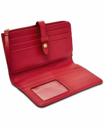 Fossil Women Fiona Leather Tab Wallet (Bright Red) image 3