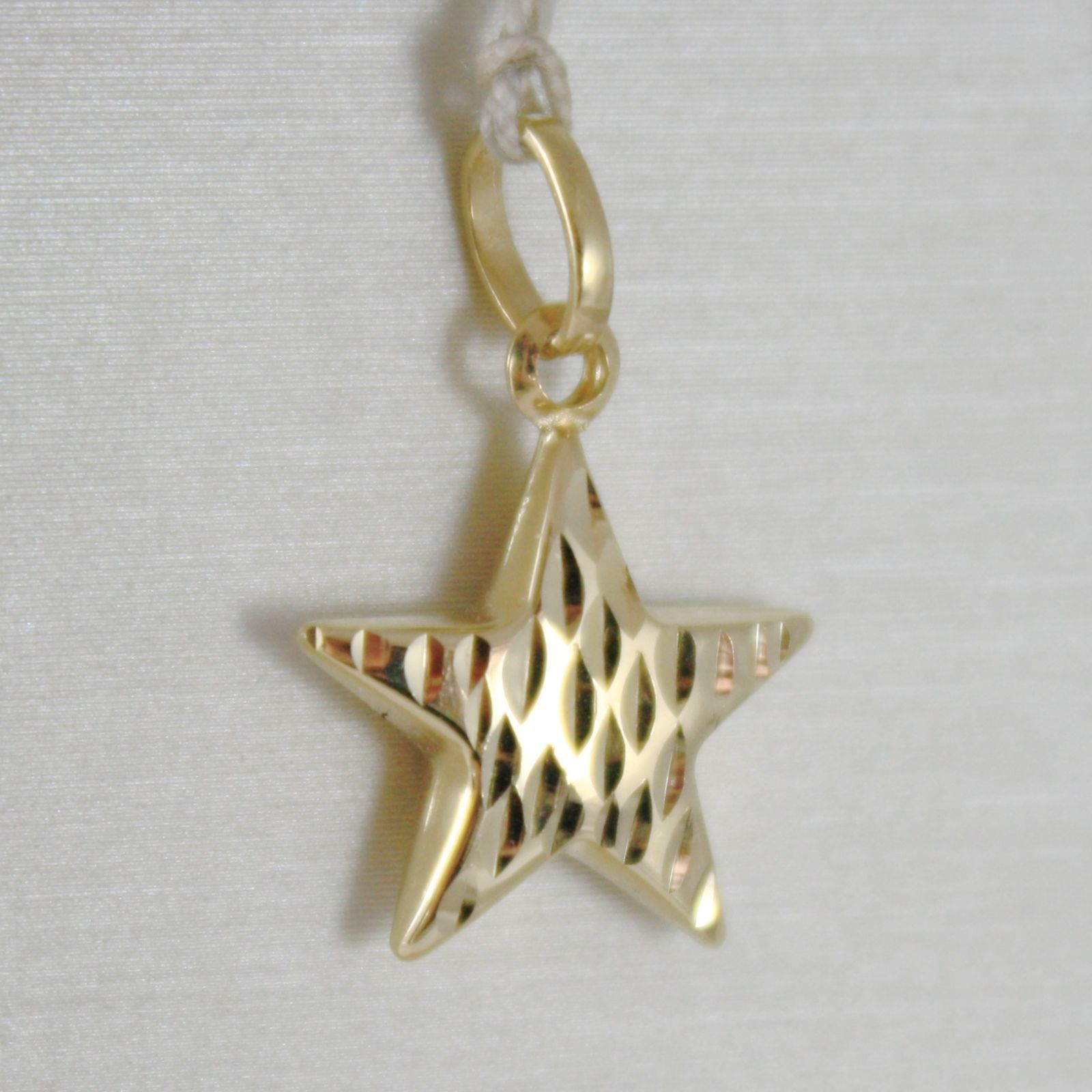 18K YELLOW GOLD ROUNDED STAR PENDANT CHARM 20 MM WORKED & SMOOTH, MADE IN ITALY