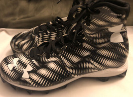 Under Armour Young Adult Size 8.5 Black & White High Top Clutch Fit Cleats - $28.70