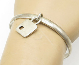 925 Sterling Silver - Vintage Dangling Lock Charm Smooth Cuff Bracelet -... - $51.99
