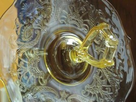 "Yellow Madrid Depression Glass Serving Plate 11""+ Center Handle Federal ... - $40.49"
