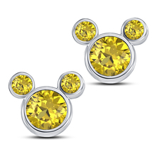 Women's Mickey Mouse Stud Earrings 14k White GP 925 Silver Round Yellow Sapphire - $43.60