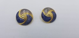 Vintage 1980s Round Gold Tone W/ Blue & Gray Marble Look Circle Earrings... - $8.65