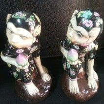 Stunning Pair of Porcelain Ceramic Monkey Figurines collectible Vintage ... - $299.99