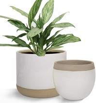 White Ceramic Flower Plant Pots 6.5 Inch Pack 2 Indoor Planters Plant Co... - $43.54