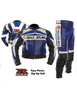 SUZUKI GSXR BLUE MOTORBIKE MOTORCYCLE 2 PIECE COWHIDE LEATHER ARMOURED SUIT - $349.99