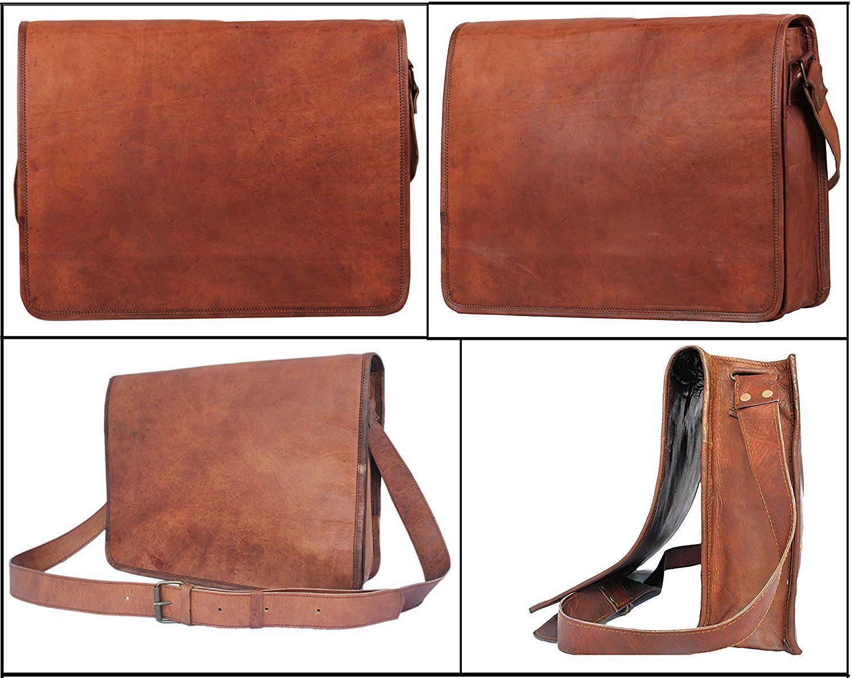 "11x15"" Real Vintage Goat Leather Women's Satche1l Messenger Laptop NEW Bag"