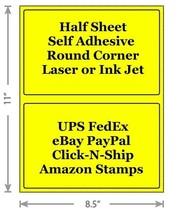 Standard Yellow Shipping Labels 8.5x5.5 Half Sheet Self Adhesive eBay Pa... - $1.99+