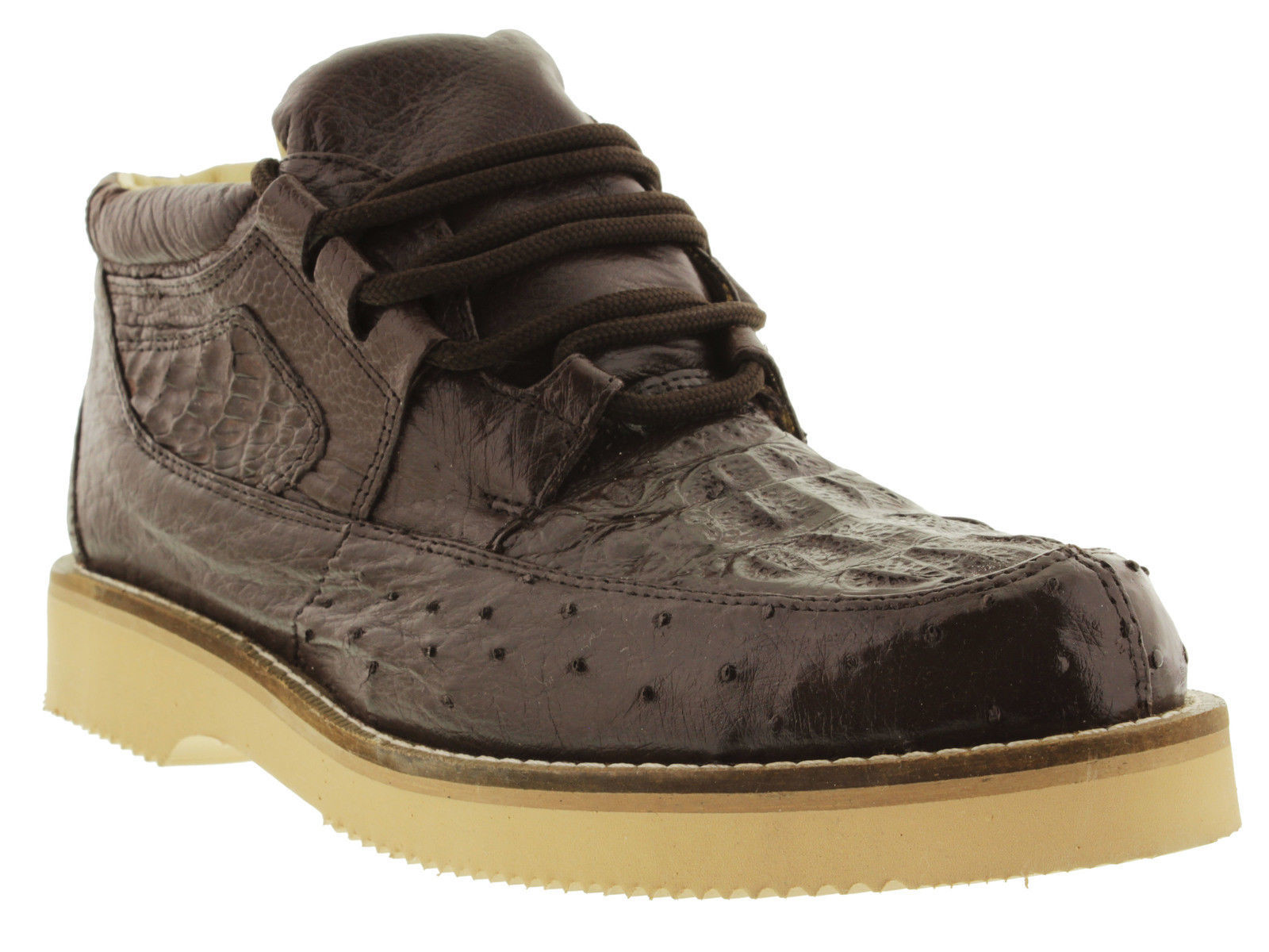Mens Brown Genuine Crocodile Ostrich Skin Sneaker Shoes Boots Western Cowboy