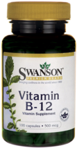 VITAMIN B-12 500MCG (CYANOCOBALAMIN) HEART HEALTH DIET SUPPLEMENT 100 CA... - $7.92