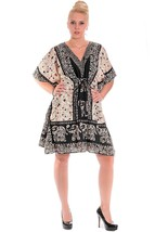 Short Ravishing Elephant Kaftan~Beachwear V-Neck Black Caftan Tunic~Free Size - $9.12