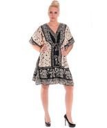 Short Ravishing Elephant Kaftan~Beachwear V-Neck Black Caftan Tunic~Free Size - $9.12