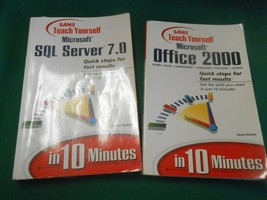 2 MICROSOFT Software Books-SAMS TEACH YOURSELF Office 2000 & SQL SERVER 7.0 - $12.46