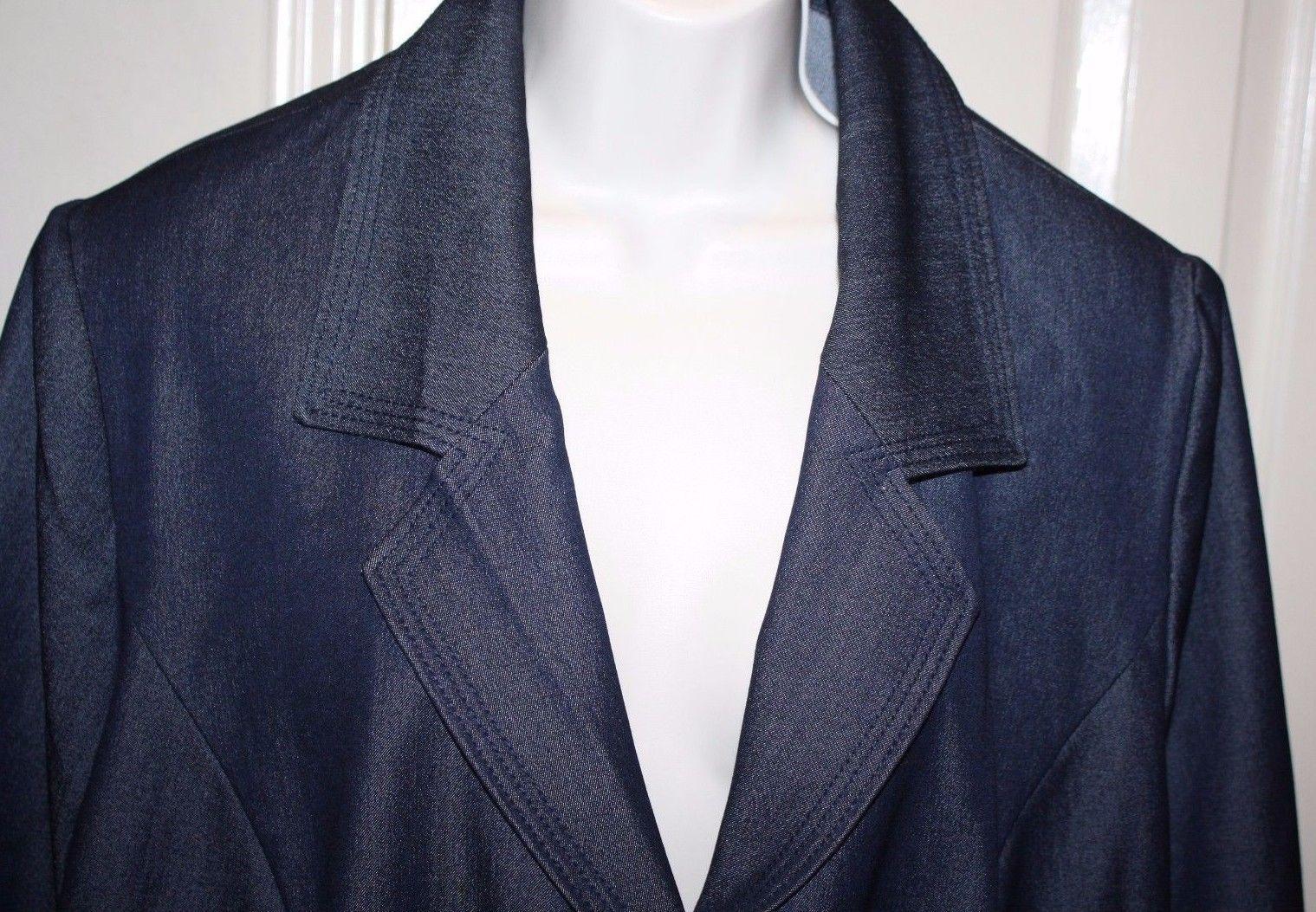9decf787c7ac0 Lane Bryant Blue Denim Suit Jacket Blazer Plus Size 28 Business 3 Button  Classic
