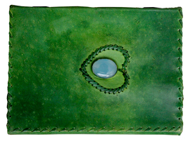 Handmade Leather Cover  Diary/Journal  1 stone Green Color  with lock fo... - $30.99