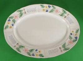 Herend Hungary Village Pottery TRELLIS Large Oval Platter Floral Blue Lattice - $46.48