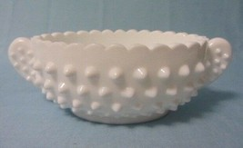 FENTON ART GLASS HOBNAIL OVAL NUT DISH SOLID HANDLES WHITE MILK GLASS RARE - $22.99