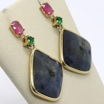 9K YELLOW GOLD PENDANT EARRINGS, DROP BLUE & OVAL PINK SAPPHIRE, GREEN EMERALD image 2