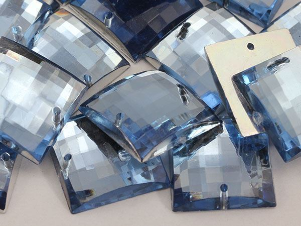 16mm Blue Sapphire Lt. CH02 Square Flat Back Sew On Gems For Craft 40 PCS