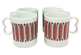 Vintage Mid-Century Red and Black Porcelain Mugs-Set of Four - $23.99