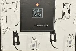 Cynthia Rowley Sketched Black White Cats on Light Gray Microfiber Sheet ... - $78.00
